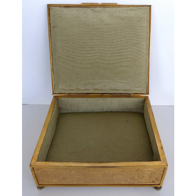 Late 19th Century 19th Century European Gilt Bronze Dresser Box With Enamel Plaque For Sale - Image 5 of 9