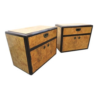 Lane Mid Century Burl Olive Wood Nightstands - a Pair For Sale