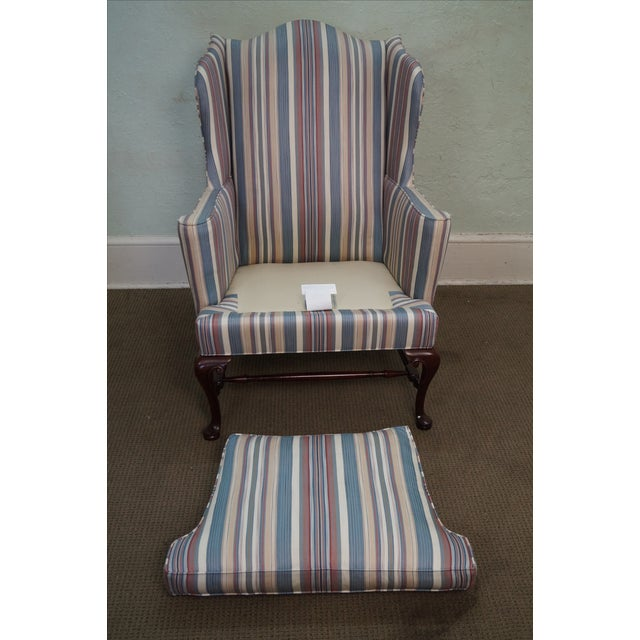Hickory Chair Solid Mahogany Queen Anne Wing Chair - Image 8 of 10