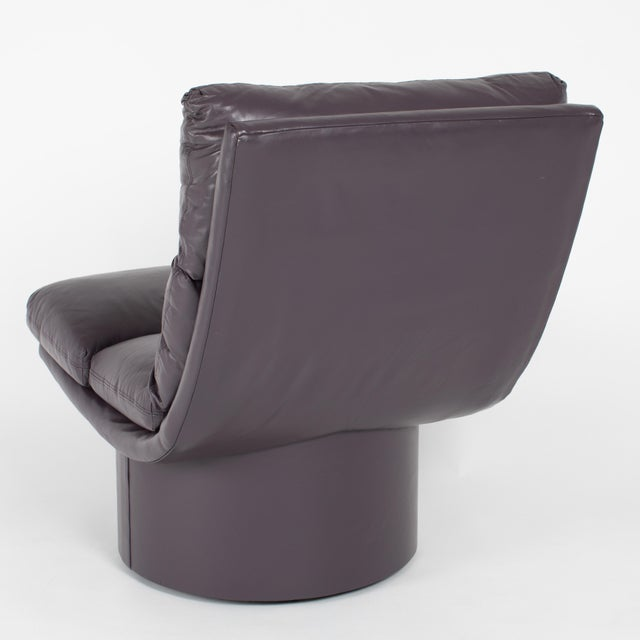 1970s Eggplant Leather Scoop Chairs on Swivel Bases, Circa 1980s For Sale - Image 5 of 13