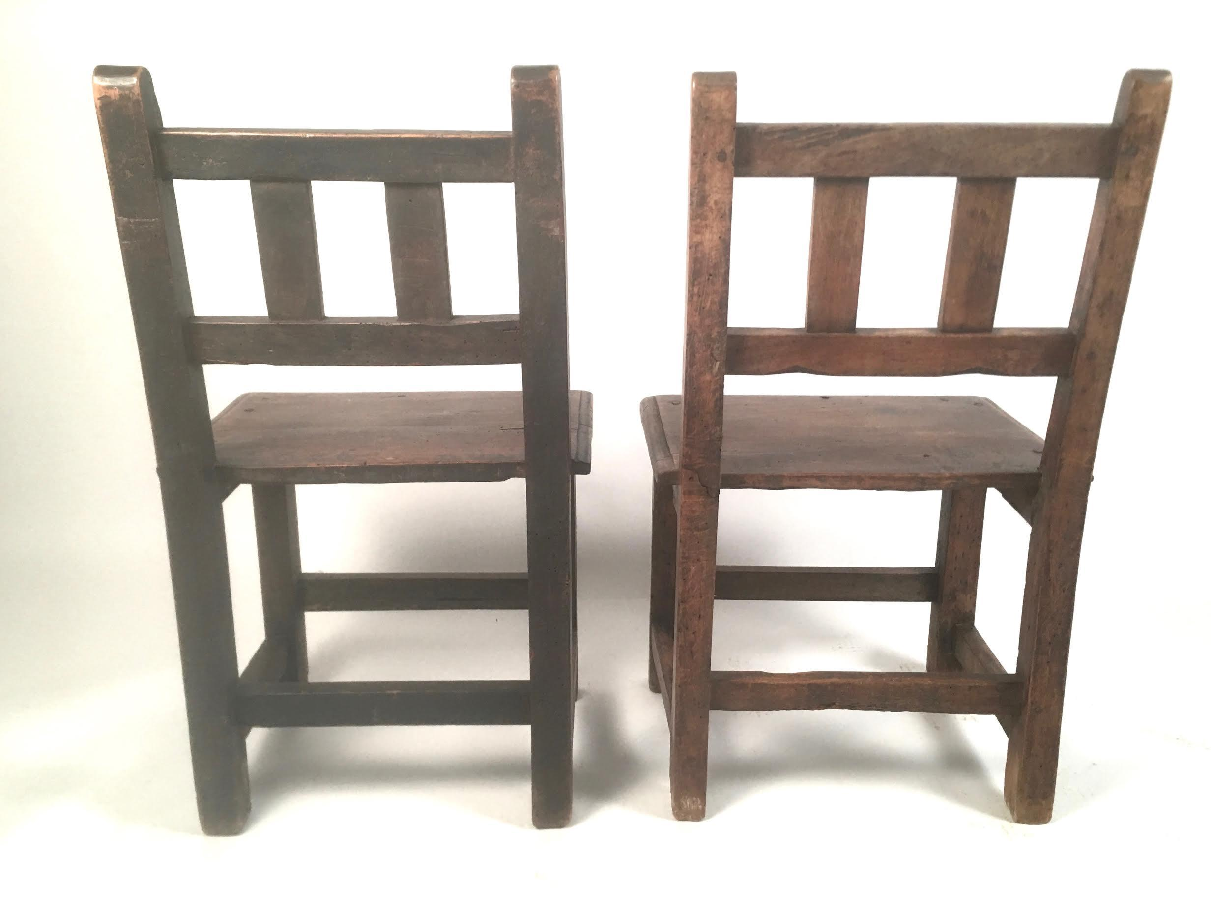 Pair Of Small Spanish Colonial Carved Walnut Chairs   Image 9 Of 10