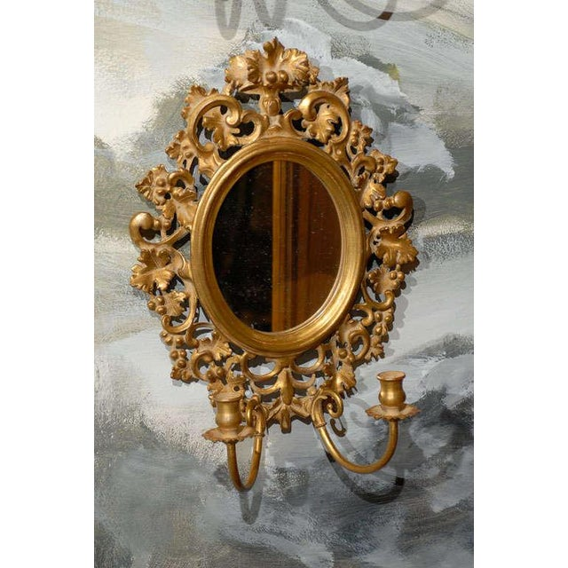 Rococo Vintage Italian Mirrored Candle Sconces - a Pair For Sale - Image 3 of 8