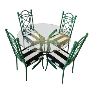 Vintage Bamboo Metal Kitchen Dining Set For Sale