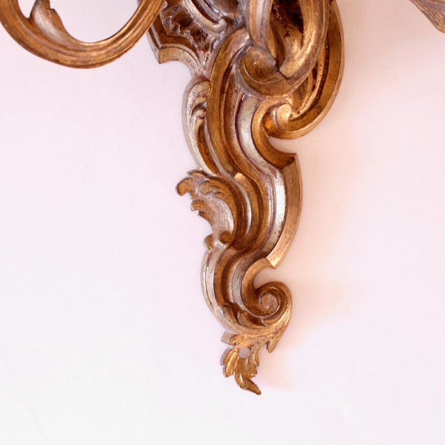 Late 19th Century Fine French Rococo Gilt Bronze Three Light Sconces - a Pair For Sale - Image 6 of 11