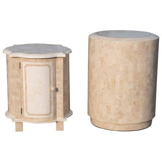 Maitland-Smith Tessellated Stone End Tables Nightstands - a Pair