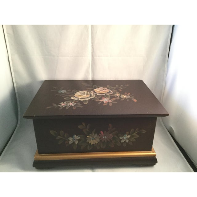 "American Floral Decorated Box, 10"" Long, 7"" Wide, 4"" Deep For Sale - Image 3 of 7"