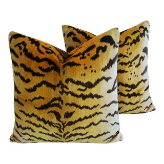 Italian Scalamandre Le Tigre & Mohair Pillows - a Pair