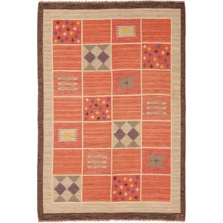 Mid 20th Century Swedish Flat Weave Rug- 5′7″ × 8′3″ For Sale