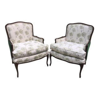 Emerald Green and Floral Bergere Chairs - a Pair For Sale
