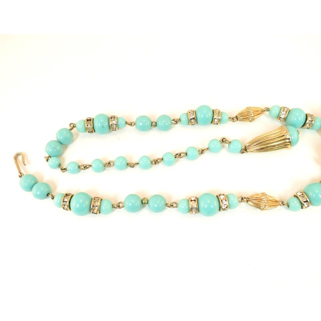 Miriam Haskell Turquoise Glass Necklace & Bracelet Set, Made in Germany 1950s For Sale In Los Angeles - Image 6 of 13