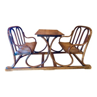 20th Century Art Nouveau Child's Table and Two Bench Set For Sale