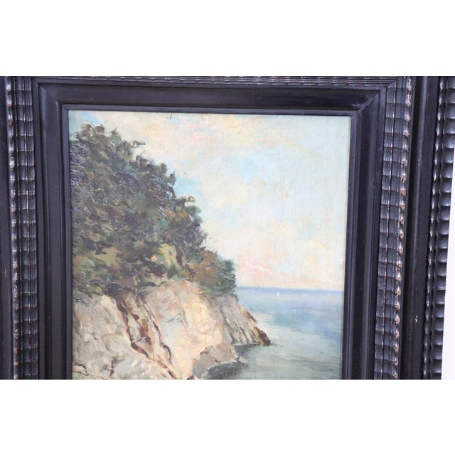 Beautiful painting, circa 1910 signed in the lower right author not recognized. Subject the coast of Italy realized...
