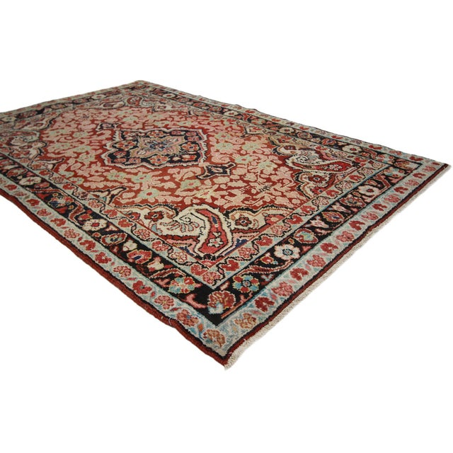 Victorian Vintage Persian Mahal Rug - 4'1 x 6'3 For Sale - Image 3 of 8