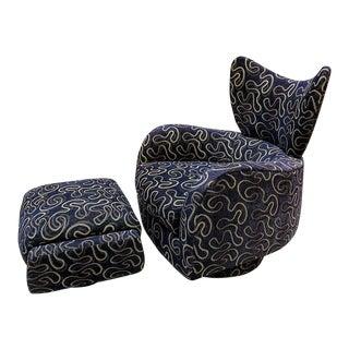 1980s Vintage Vladimir Kagan for Directional Swivel Lounge Chair & Ottoman For Sale