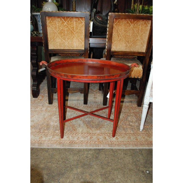 English Red Oval Table Tray - Image 3 of 8