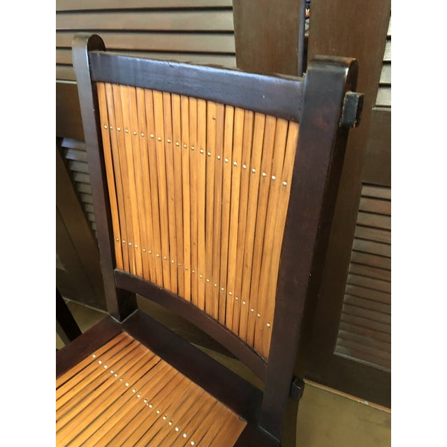 Brown Asian Inspired Wood and Bamboo Bar Stools - A Pair For Sale - Image 8 of 12