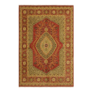 Istanbul Luke Rust/Gold Turkish Hand-Knotted Rug -4'10 X 5'11 For Sale