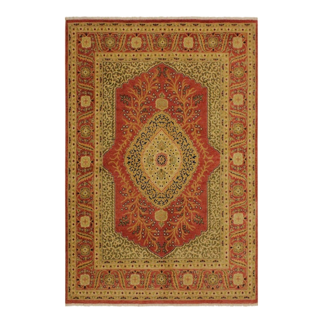 Shabby Chic Istanbul Luke Rust/Gold Turkish Hand-Knotted Rug -4'10 X 5'11 For Sale