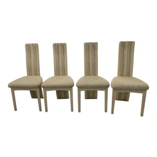 Art Deco Style Wood & Fabric Dining Chairs - Set of 4