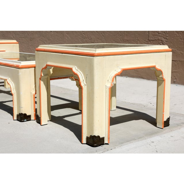 1960s Hollywood Regency Pagoda Cocktail Table W Brass Inlay and Glass Includes Side Tables - Set of 3 For Sale In Tampa - Image 6 of 13