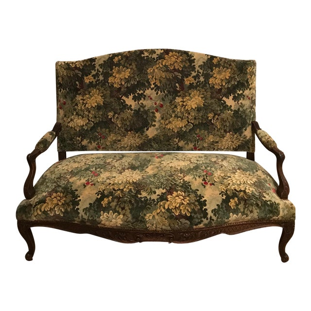 French 19thC Settee Covered in Scalamandre Marly Forest Green Fabric For Sale