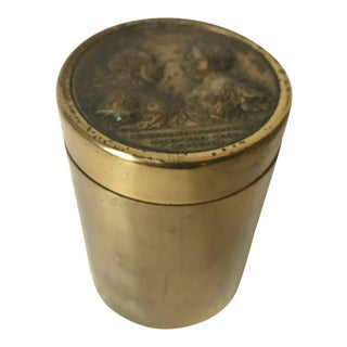 Vintage Mid Century Brass Franciscvs Avg. Maria Theresa Avg Coin Medallion Set in Cylindrical Container For Sale
