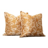 Image of Saffron Embroidered Pillow Cover Pair For Sale