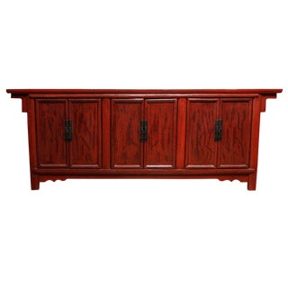Antique Shanxi Large Red Lacquered Elm Sideboard from China, 19th Century For Sale