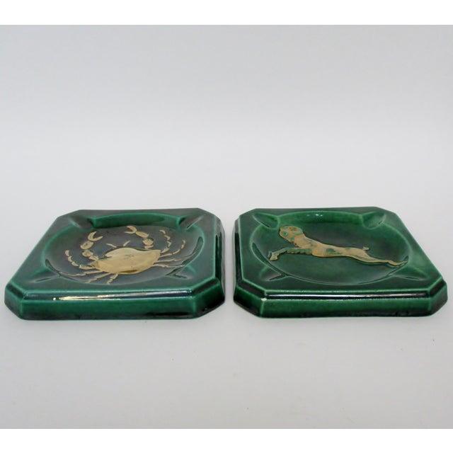 Hollywood Regency Vintage Ceramic Ashtrays, Set of 2 For Sale - Image 3 of 8