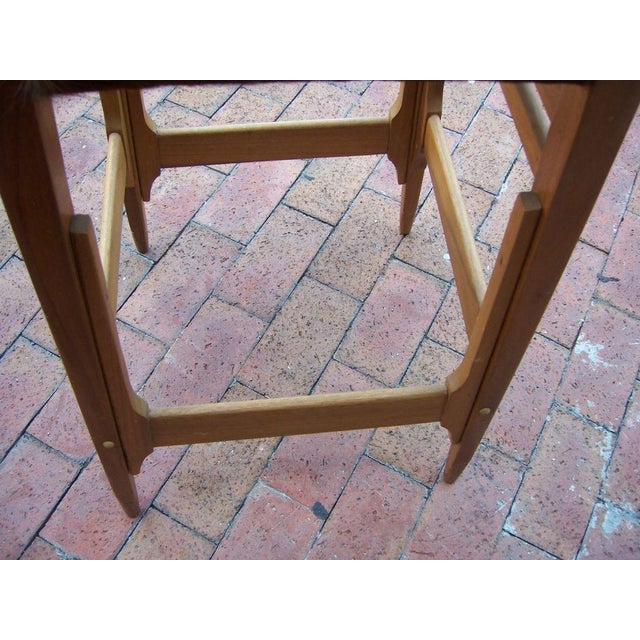 Pair of Architectural Frame Cowhide and Wood Barstools - Image 5 of 5