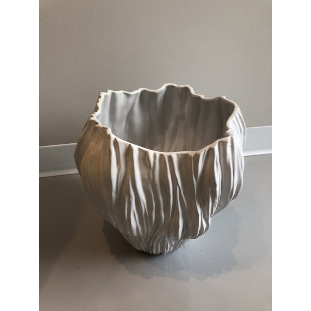 Contemporary Contemporary Tozai Home Piriform White Ceramic Vase - Large For Sale - Image 3 of 5