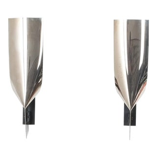 Polished Artisan Stainless Folded Large Steel Wall Lamps, France 1980 For Sale