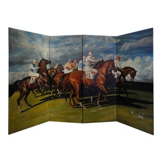 Hand Painted Horse Race Scene Folding Screen