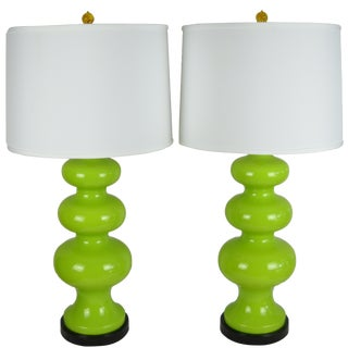 Mid-Century Chartreuse Ceramic Lamps - A Pair For Sale