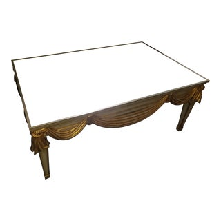 Carved Swag Wood Mirror Top Coffee Table For Sale