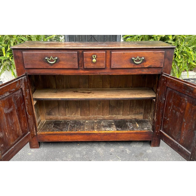 18th Century Antiqie 18th C Italian Country Walnut Sideboard Buffet For Sale - Image 5 of 9