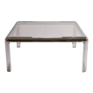 Mid-Century Square Chrome Cocktail Table with Rounded Frame For Sale