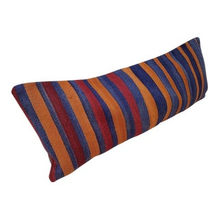 Orange and Blue Wool Kilim Pillow Cover For Sale