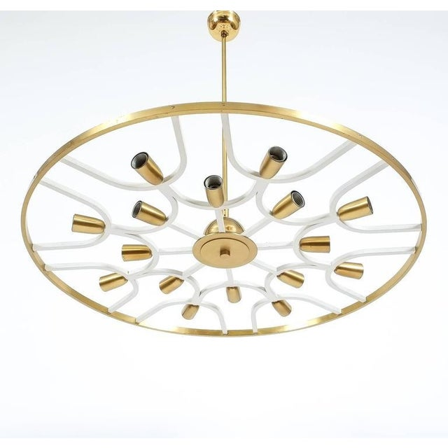 Lacquer Grand Ornamental Italian Brass Chandelier Or Flush Mount Lamp, circa 1960 For Sale - Image 7 of 7
