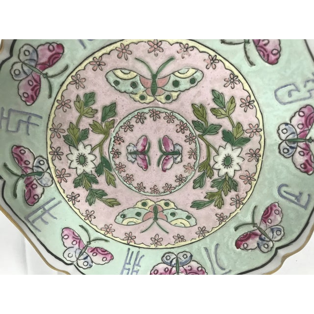 Asian Famille Decorative Plate For Sale - Image 3 of 6