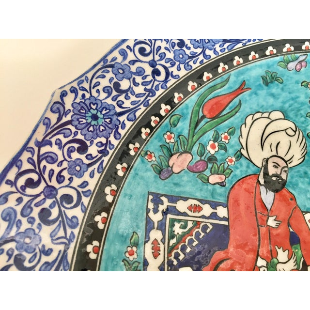 Large Turkish Ottoman Scene Polychrome Hand Painted Ceramic Plate Kutahya For Sale - Image 11 of 12