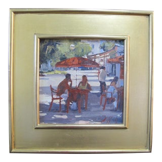 Paul Rafferty New York Figural Lunch in Cannes Gilt Framed Oil Painting For Sale