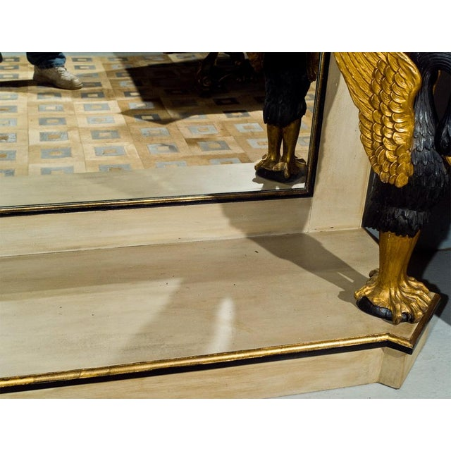 French Marble Top Console With Gilt Carved Swans For Sale In New York - Image 6 of 7