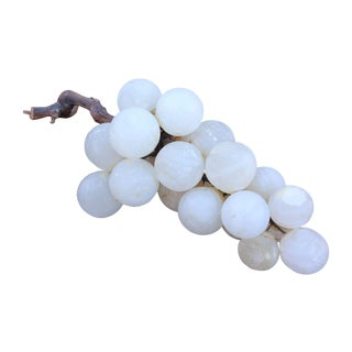 Large Alabaster Grapes with Wood Branch For Sale