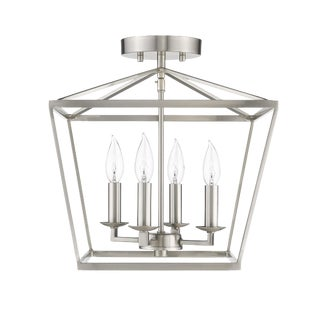 Ponce City 4 Light Semi-Flush Convertible to a Pendant, Satin Nickel For Sale