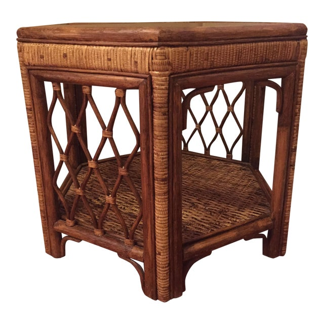Boho Woven Rattan Side Table - Image 1 of 7