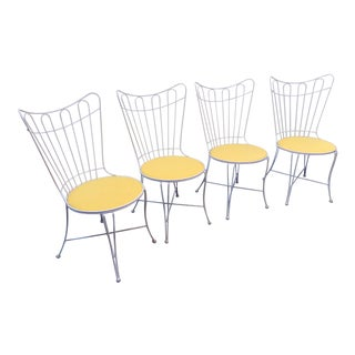 Mid-Century Iron Yellow Upholstered White Hairpin Chairs - Set of 4 For Sale