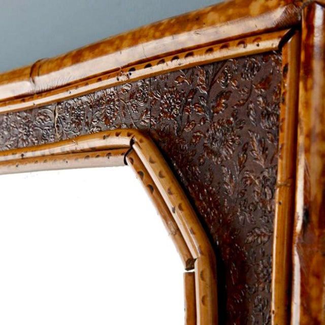 Vintage Wall Mirror With Bamboo and Leather Frame - Image 5 of 5