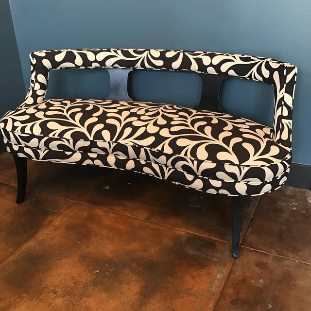 Black & White Botanical Loveseat - Image 3 of 8