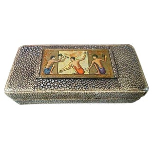 Art Deco English Shagreen Stamp Box For Sale